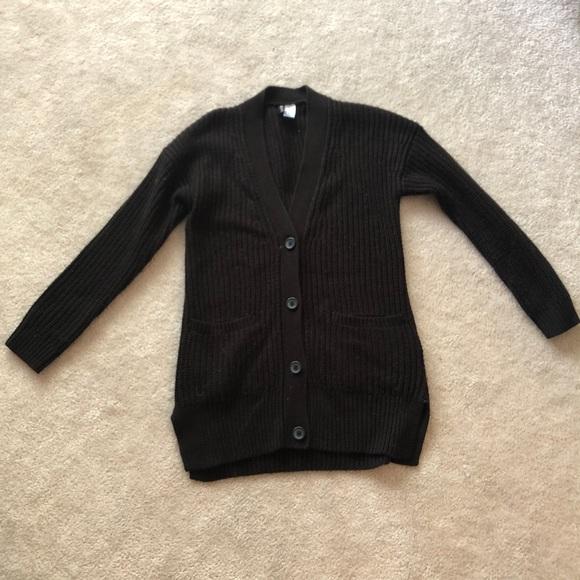 black long knit cardigan